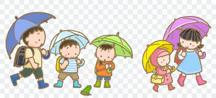 有一隻青蛙的學校路在一個雨天