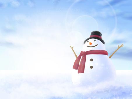 雪人冬季景觀框架(藍天下的雪原)