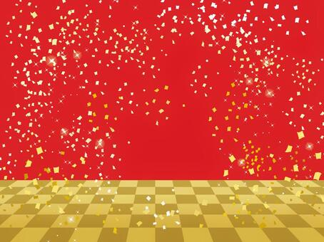Ichimatsu Stage Red / Confetti