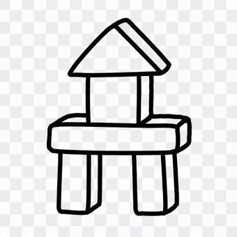 堆積成塔狀的積木(線條圖)