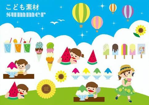 兒童的材料夏天