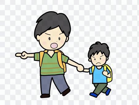 避難する親子
