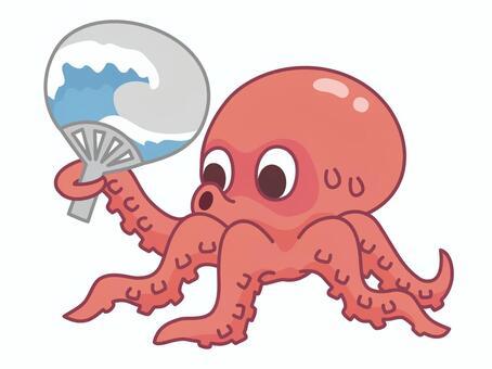 章魚陷入風扇