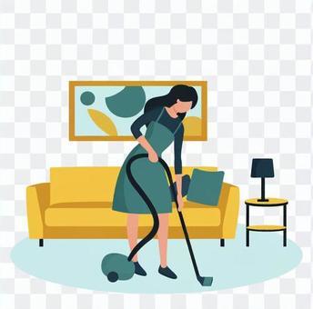 女人用吸塵器清潔