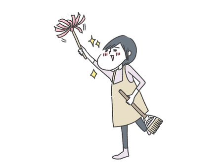 Mother doing her best to clean / housekeeping / housewife