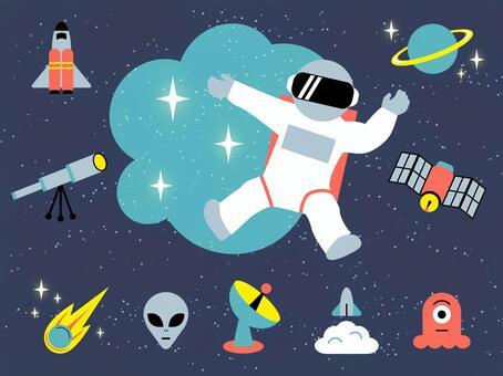 零重力宇航員外星人火箭星球