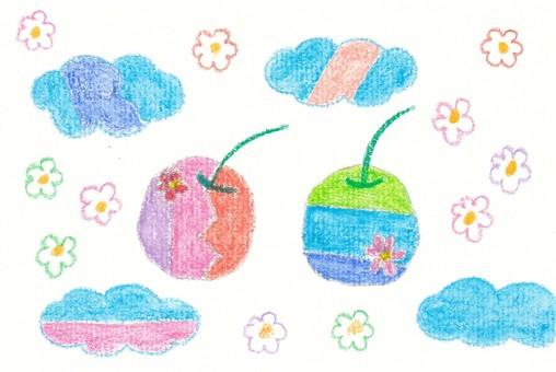 蘋果、鮮花和雲彩的世界