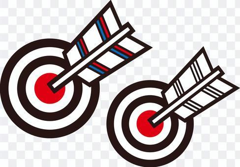 擊中目標的兩個箭頭