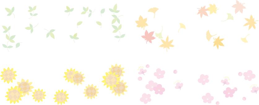 사계절의 단순 식물 봄 여름 가을 겨울 배너 등에