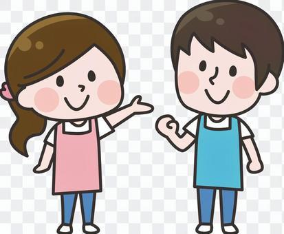 兩個頭_圍裙男女