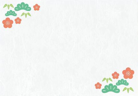 松竹梅花雲流,日本紙(新年賀卡,背景圖像)