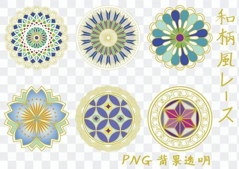 日本圖案花邊藍色系列