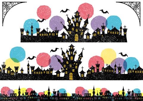 打印風格的萬聖節城市景觀線集