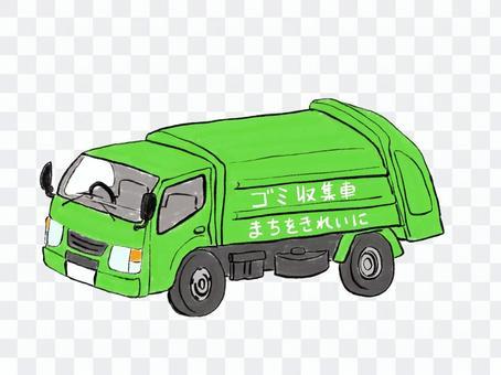 緑色のゴミ収集車