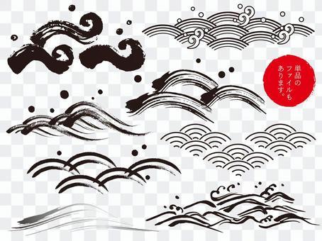 日式_波浪_手繪_筆刷_日式_顏色k_黑色