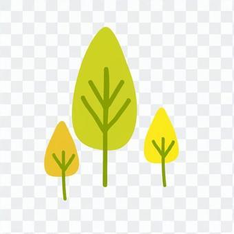 Scandinavian trees (yellow green, drop type, multiple)