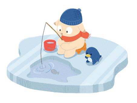 Illustration of fishing on ice