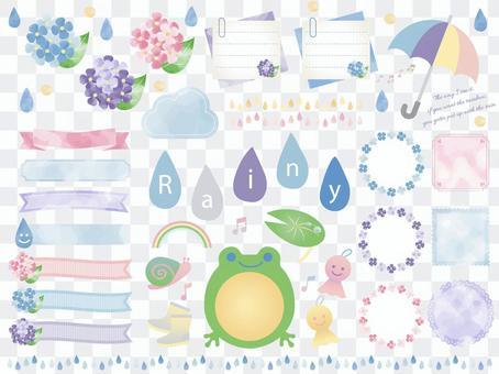 雨季/水彩/繡球花框架套