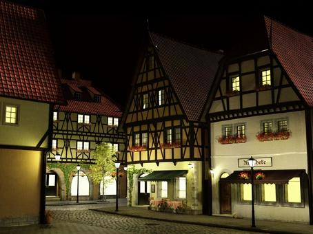 Scenery of the medieval building style city of the night