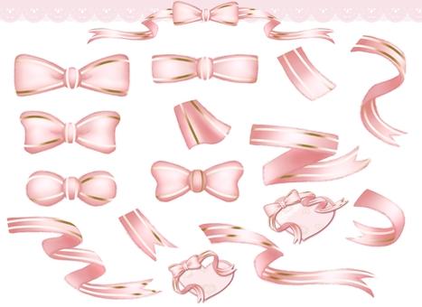 Ribbon illustration material and frame set pink