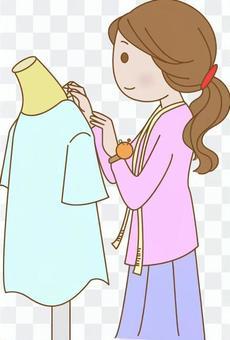 婦女做衣服