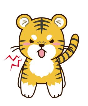 Angry barking tiger character