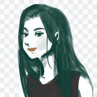 美麗的女人,留著長頭髮的化妝