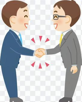 A businessman who shakes hands