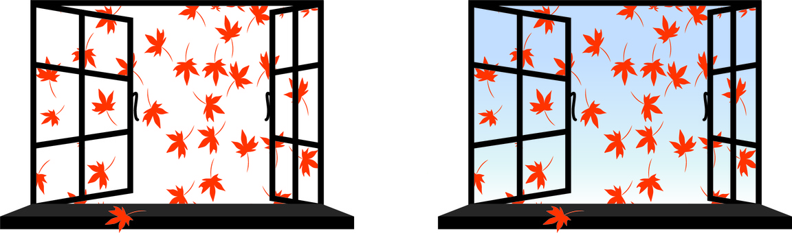 Window bay window open autumn leaves autumn leaves outside the room