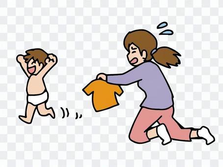 孩子不容易穿衣服,不愉快的時期