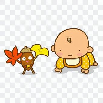 Baby and acorn toy