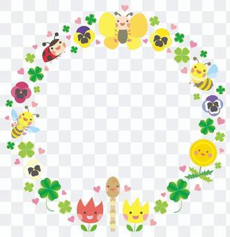 可愛的春天生物和植物的圓形框架