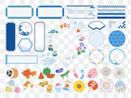Summer Japanese style frame and decoration / illustration set