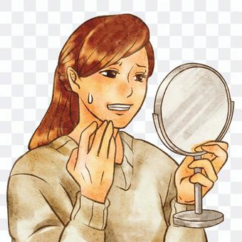 照鏡子的焦慮女人