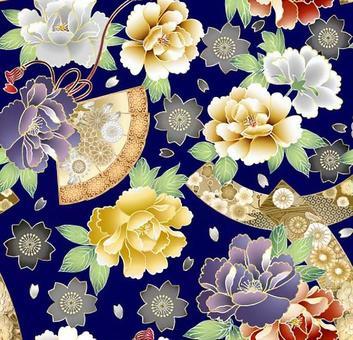 牡丹和風扇圖案色板3