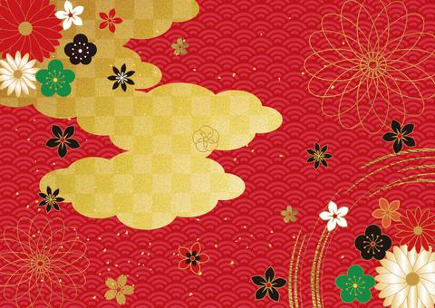 日本圖案和金箔 cloud_red 背景 2869