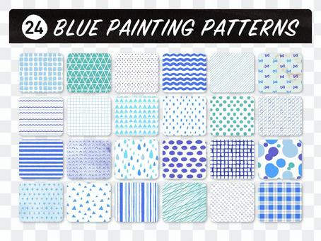 Hand-painted pattern set [blue]