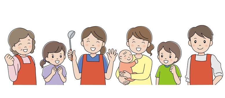 Staff in aprons and mother and child