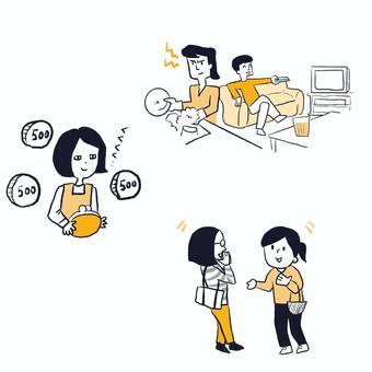 每天節省做家務和忙碌的家庭主婦