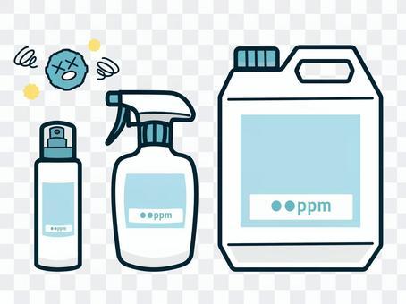 次亜塩素酸水のボトル容器セットイラスト