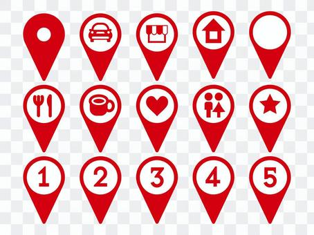 Map pin red set numbered