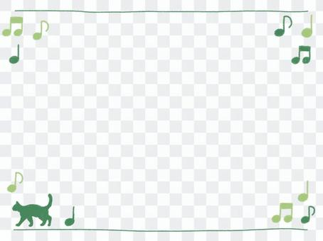Crayon frame with green cat and ounce