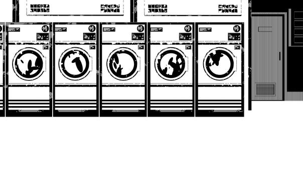 自助洗衣店和牆壁,白色背景,透明背景