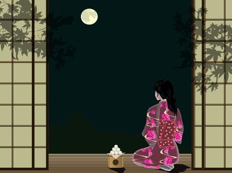 Tsukimi Full Moon Engawa Night Women's Kimono