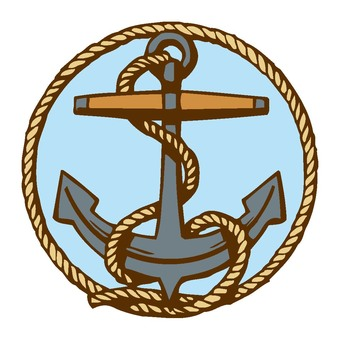 Anchor and rope emblem