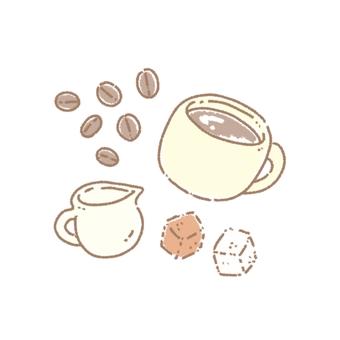 咖啡、咖啡豆和糖奶