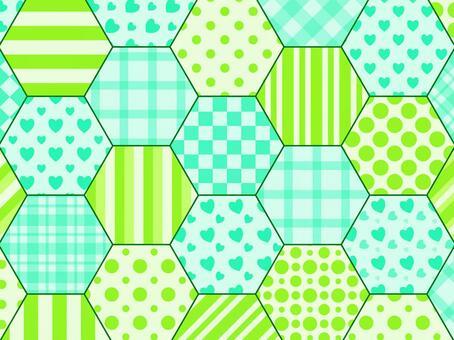 六角形拼布藍綠色×黃綠色