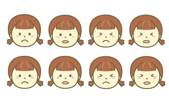 Crying girl face set