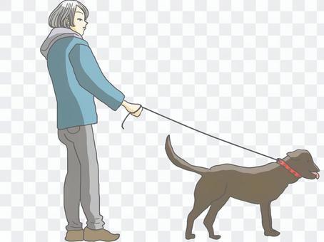 犬を散歩させる若者(男性)
