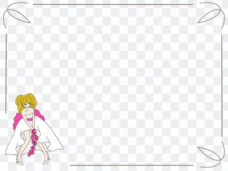 婚紗禮服框架背景粉紅色